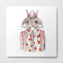 Kathy and Susie - Conjoined Rabbits in a Cardigan Metal Print