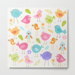 Birds - Off White Metal Print