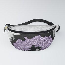 Gray Black White Agate with Ultra Violet Glitter #2 #gem #decor #art #society6 Fanny Pack