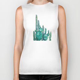 cactus jungle watercolor painting Biker Tank