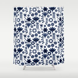 Folky Blue Shower Curtain