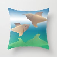 dolphins Throw Pillows featuring dolphins by Ruud van Koningsbrugge