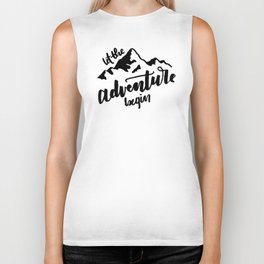 Let the Adventure Begin WHITE Biker Tank
