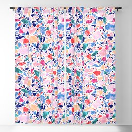 Terrazzo Crystals / Mineral Texture in Blue, Pink and Turquoise Blackout Curtain
