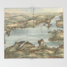 Vintage Pictorial Map of Lake Sunapee (1905) Throw Blanket