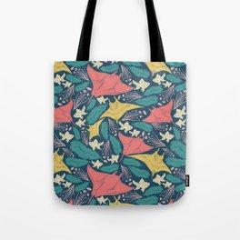 Manta Ray And Fish Pattern Tote Bag
