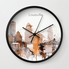 Vintage Louisville skyline design Wall Clock