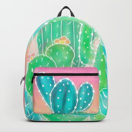 Modern tropical exotic summer cactus illustration pink ombre watercolor Backpack