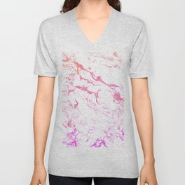 Modern pink purple watercolor white marble pattern Unisex V-Neck