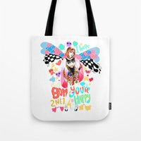 2ne1 Tote Bags featuring 2NE1 Happy: Park Bom by Haneul Home