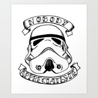 storm trooper Art Prints featuring Storm trooper by Kitty Judge