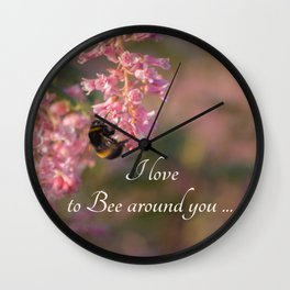 Nature bee on pink flowers Wall Clock