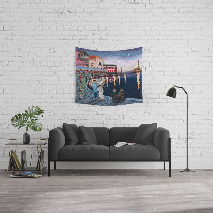 Greece: A Night in Chania, Crete Wall Tapestry