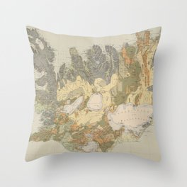 Vintage Geological Map of Iceland (1901) Throw Pillow