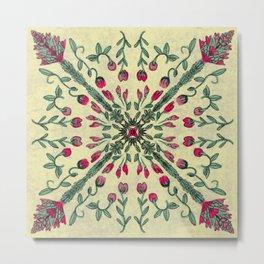 Flower Stalk Tile Design Metal Print