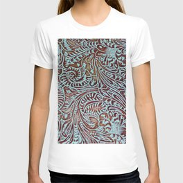 Light Blue & Brown Tooled Leather T-shirt
