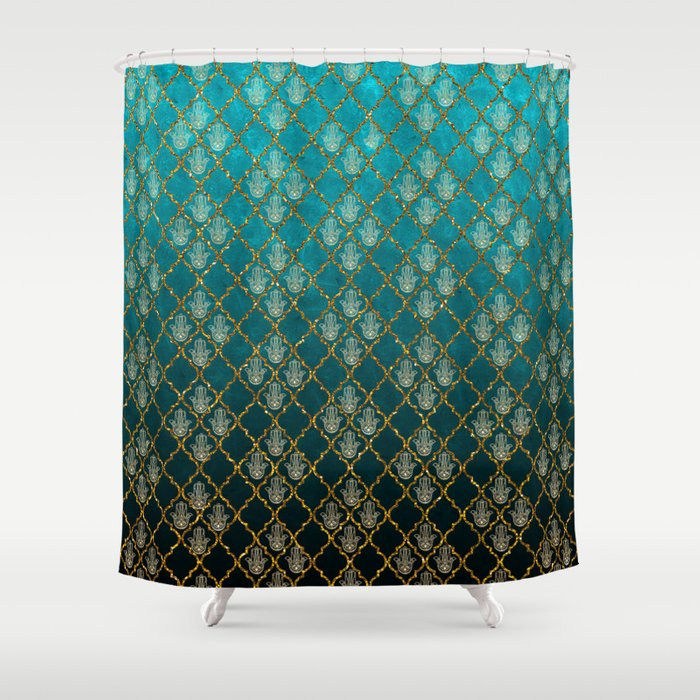 Vintage green faux gold glitter quatrefoil Hamsa Shower Curtain by ...