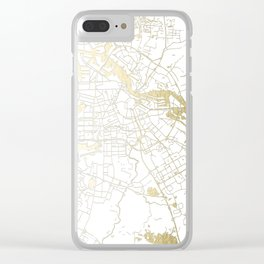Amsterdam White on Gold Street Map Clear iPhone Case