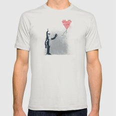 Binary Art MEDIUM Mens Fitted Tee Silver