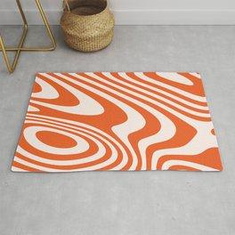 Deep Orange Zebra Grooves Abstract Pattern Rug