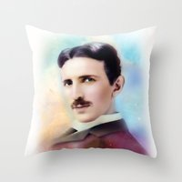 tesla Throw Pillows featuring Tesla by Mamboo