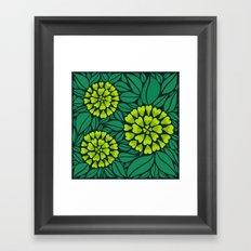 Spring Green Floral pattern Framed Art Print
