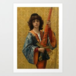 "Alexandre Cabanel ""Young Page in Florentine Garg (also known as The Sword-Bearing Page)"" Art Print"