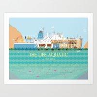 the life aquatic Art Prints featuring The Life Aquatic by Alan Segama