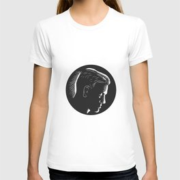Pensive Man in Deep Thought Circle Woodcut T-shirt