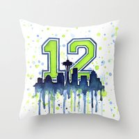 seahawks Throw Pillows featuring Seattle 12th Man Art Skyline Watercolor  by Olechka