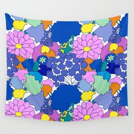Far-Out 60's Floral in White Wall Tapestry