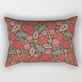 Red poppies and roses with golden keys on dark background Rectangular Pillow