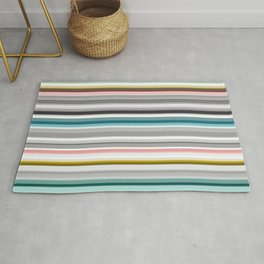 grey and colored stripes Rug