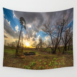 Twilight - Windmill and Trees and Sunset in Southern Kansas Wall Tapestry