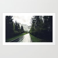 Down the Road - Mountains, Forest, Austria Art Print