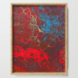 Vibrant Red, Blue and Gold Fluid Abstract Art - Fire Away Serving Tray