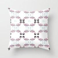 afro Throw Pillows featuring Afro flamingos by Iratxe González