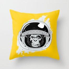 Monkey in white space Throw Pillow