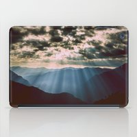 mountains iPad Cases featuring mountainS Dark Sunset by 2sweet4words Designs