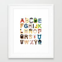 nursery Framed Art Prints featuring Muppet Alphabet by Mike Boon