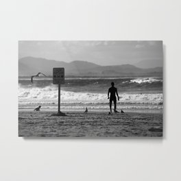 Father and son in Byron Bay, Australia, the Seaside Metal Print