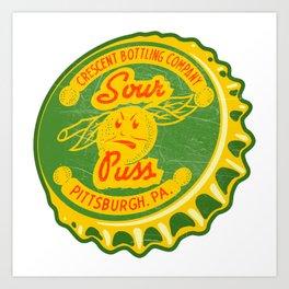 Vintage Crescent Bottling Sour Puss Lemon Soda Pop Bottle Cap Art Print