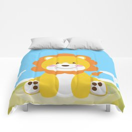Lion in the savannah Comforters