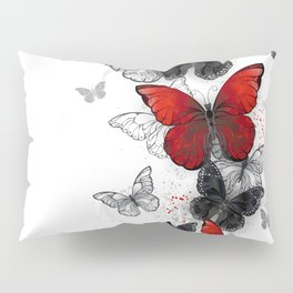 Flying Black and Red Morpho Butterflies Pillow Sham