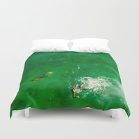 swimming Duvet Covers featuring Swimming by Carloe