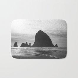 Haystack Rock in Black and White - Cannon Beach, Oregon Film Photo Bath Mat