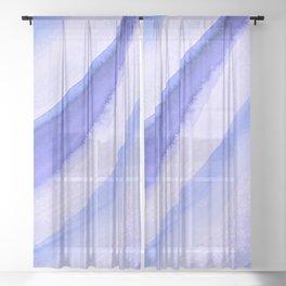 Blue Wave Watercolor Sheer Curtain