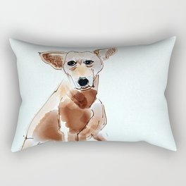 A Mutt in Blue Dog Portrait Rectangular Pillow