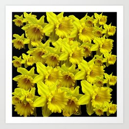 YELLOW SPRING KING ALFRED DAFFODILS ON BLACK Art Print