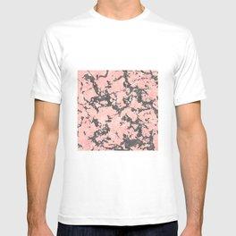 Trendy Rose Gold & Gray Glitter Marble Image T-shirt